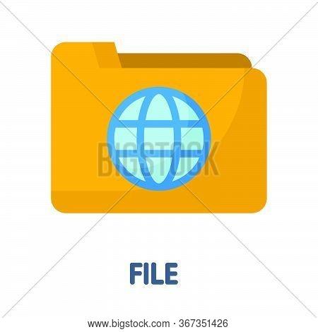 File Folder  Flat Style Icon Design  Illustration On White Background
