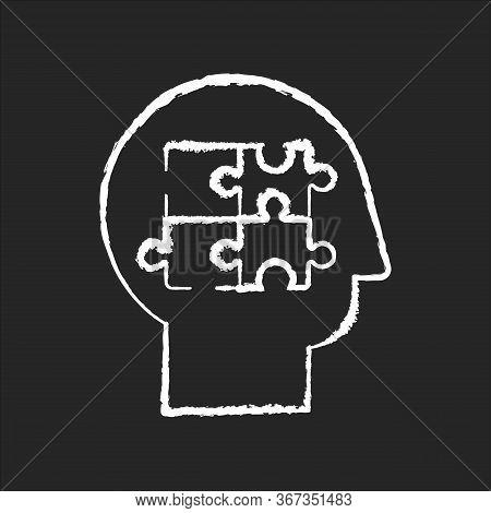 Elaboration Chalk White Icon On Black Background. Puzzled Mind. Logical Mindset. Analysis For Smart
