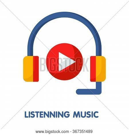 Icon Listening Music In Flat Style Design  Illustration On White Background