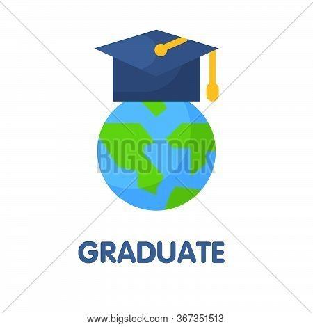 Graduate Education Flat Style Icon Design  Illustration On White Background