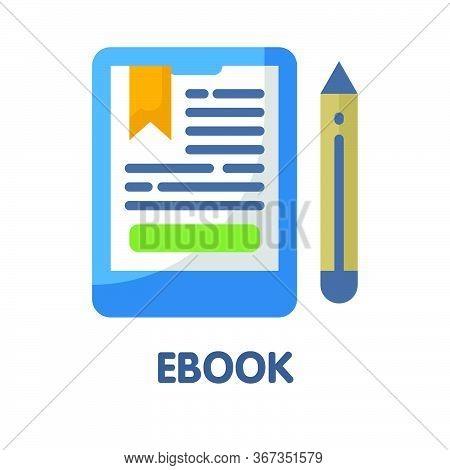 Ebook  Flat Style Icon Design  Illustration On White Background