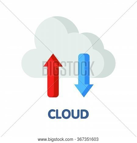 Icon Cloud Storage In Flat Style Design  Illustration On White Background