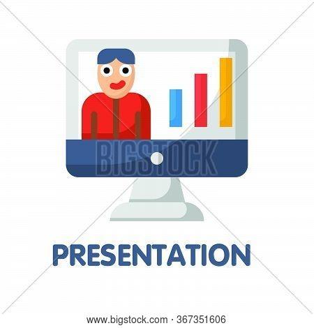 Icon Presentation In Flat Style Design  Illustration On White Background