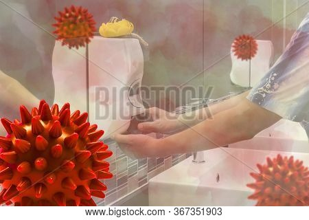 Concept Model Covid 19 Or Coronavirus Case Of Respiratory Epidemic Or Damage The Lungs With People D