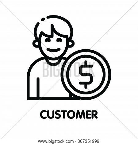 Icon Customer Man Outline Style Icon Design  Illustration On White Background