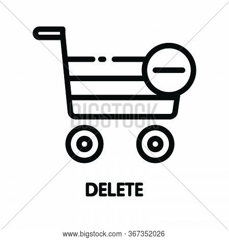 Icon Delete From Basket Outline Style Icon Design  Illustration On White Background