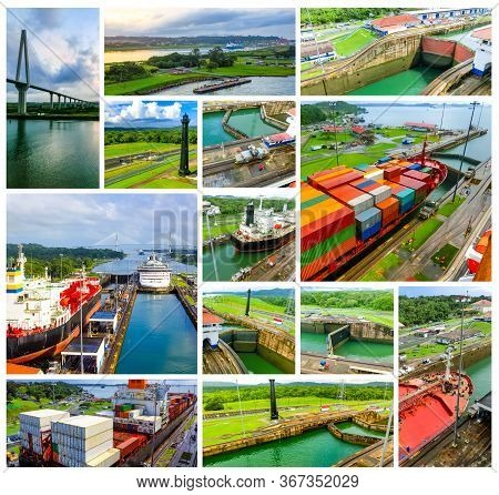 View Of Panama Canal From Cruise Ship At Panama. Collage
