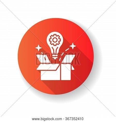 Creative Solution Red Flat Design Long Shadow Glyph Icon. Idea Generation. Smart Innovative Thought.