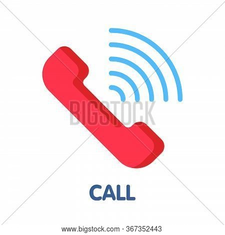 Icon Call Contact Flat Style Icon Design  Illustration On White Background