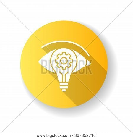 Vision Yellow Flat Design Long Shadow Glyph Icon. Find New Strategy. See Fresh Smart Solution. Busin