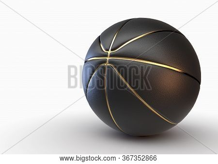 A Concept Of A Black Basketball With Gold Trim On An Isolated White Studio Background - 3d Render