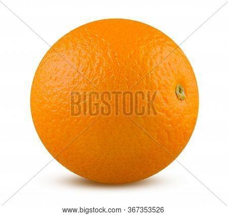 Orange Fruit Isolated Close Up On White Background. Ripe And Tasty Citrus Closeup. Whole Orange Deta