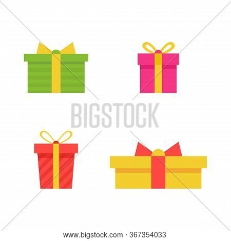Gift Boxes Set Isolated On White Background. Prizes Collection. Sale, Shopping Concept. Cartoon Gift