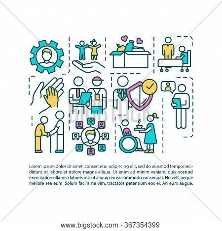 Social Welfare Employment Concept Icon With Text. Assistant For People In Need. Nursing Home. Ppt Pa