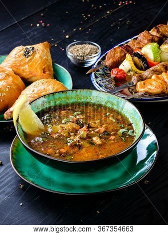 Meat Soup From Different Types Of Meat And Vegetables In A Plate - Classic Soup Hodgepodge