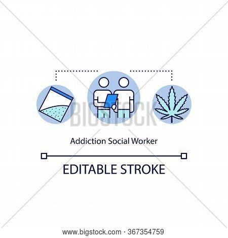 Addiction Social Worker Concept Icon. Psychological Treatment. Substance Abuse Rehabilitation Idea T