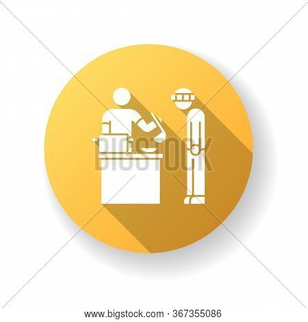 Food Bank Yellow Flat Design Long Shadow Glyph Icon. Humanitarian Aid To Homeless People. Volunteer