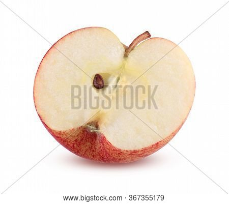 Red Apple Half Isolated On White Background. Sliced Ripe Apple Close Up. Tasty Fruit Part. Juicy And