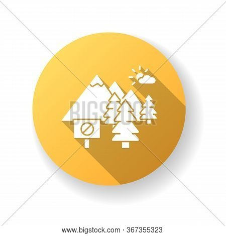National Park Yellow Flat Design Long Shadow Glyph Icon. Nature Preservation. Environmental Protecti