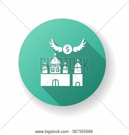 Church Donation Green Flat Design Long Shadow Glyph Icon. Charity For Religious Community. Contribut