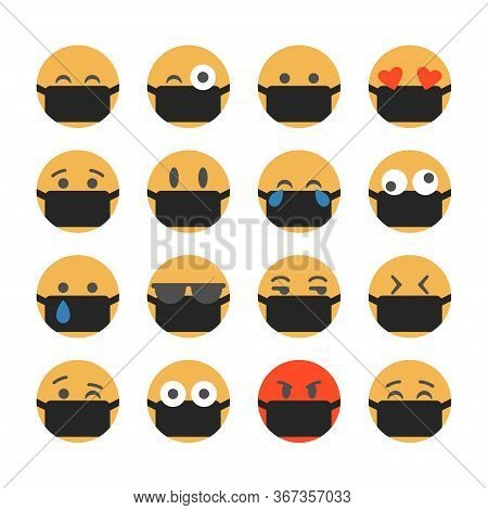 Emoticons With Protective Masks. Popular Chat Icons.