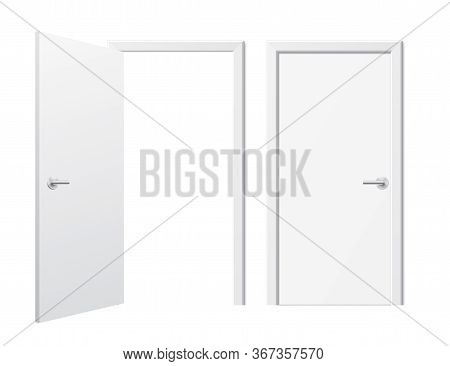 Set Of Opened And Closed White Doors. Vector Doors In A Front View, Isolated On A White Background.