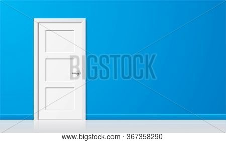 White Door On Blue Wall Background. Tiled Closed Door With A Chrome Handle, Standing On The Left Sid