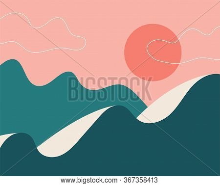 Abstract Landscape. Sun, Mountains, Clouds. Japanese Motives. Asian Design. Background With Space Fo