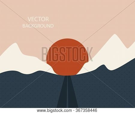 Abstract Landscape. Sun, Mountains, Waves. Japanese Style. Fashionable Modern Colors. Background Wit