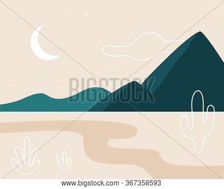 Abstract Landscape. Moon, Mountains, Clouds, River, Plants. Asian Design. Background With Space For