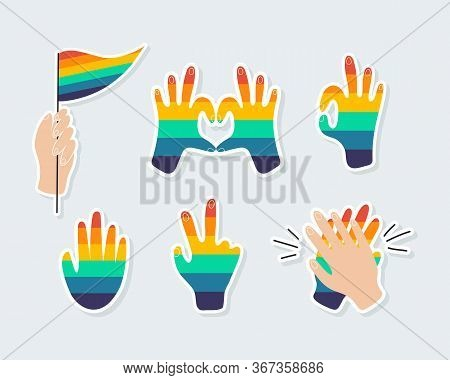 Set Of Icons On A Theme The Lgbtq. Various Rainbow Hands, Hands-heart, Hand With A Rainbow Flag, Pea