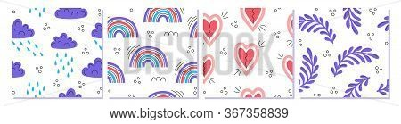A Set Of Colorful Abstract Modern Fashion Vector Seamless Patterns. Clouds, Rain, Twigs, Rainbows, H