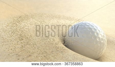 An Extreme Action Close Up Of A Golf Ball Impacting Sand In A Bunker And Spraying Grains Of Sand  -