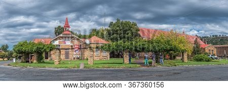 Ficksburg, South Africa - March 20, 2020: A Panoramic Street Scene, With The General Jan Fick Museum