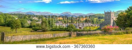Hawkshead The Lake District England With Church Panoramic View In Hdr