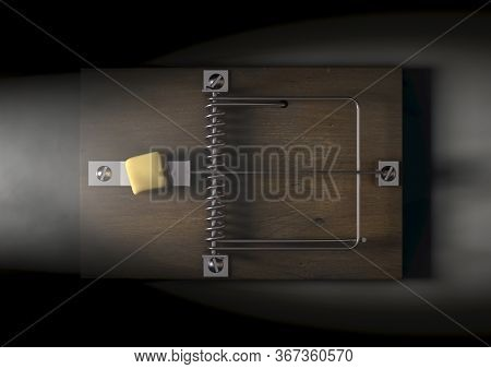 A Regular Wood And Metal Mousetrap Baited With A Block Of Cheese On A Dark Spotlit Background - 3d R