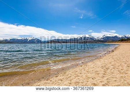 Dillon Lake Reservoir With Mountains In Colorado At Summer