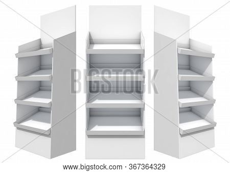 Three Views Of An Unbranded White Point Of Purchase Unit - 3d Render