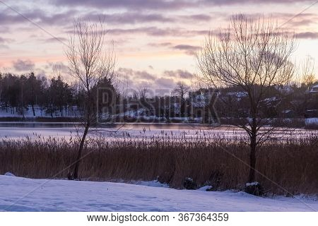 Beautiful Winter Landscape With Coast Of Luka Lake In Trakai, Lithuania In Evening Time.