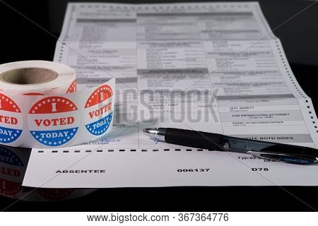 Morgantown, Wv - 21 May 2020: West Virginia State Primary Election Absent Ballot Form With Focus On