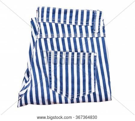 Folded Pants Isolated On White, Striped Pants Top View, White Pants With Blue And Stripes, Isolation