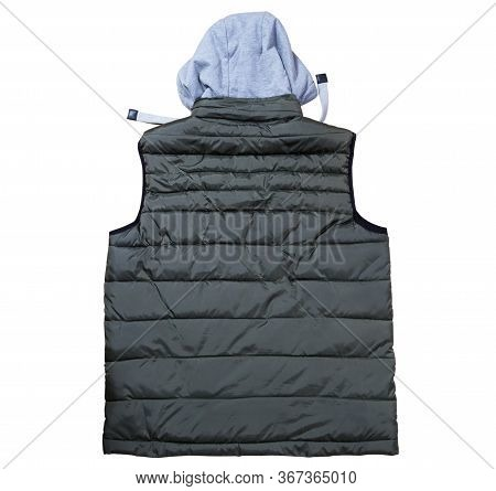 Back View Of Vest With A Hood Isolated On The White Background, Green Vest Top View On A White Backg