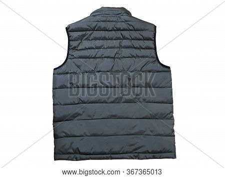 Back View Of Vest Isolated On The White Background, Green Vest Top View On A White Background. A War