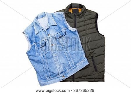 Set Blue Denim Vest And Bologna Green Vest Isolated On White Background Top View