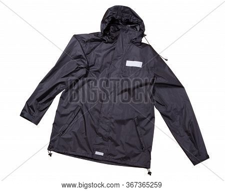 Black Rain Jacket Isolated Top View, Cotton Clothes Over White Background, Blue Men's Jacket