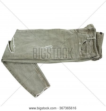 Folded Khaki Pants On White Background Top View, Fashion, Style Concept - Chino Pants Isolated On Wh