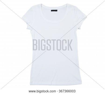 Empty White T-shirt Isolated On White Background. Blank White Female Tshirt Isolated On White. Tshir