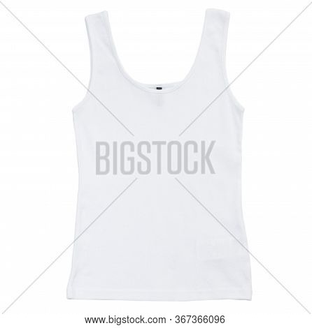 White Tank Top Isolated On White Background, Plain Hollow Female Tank Top Shirt, Isolated On White B
