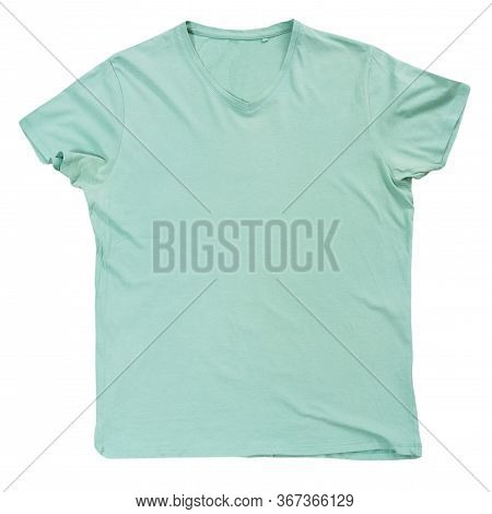 Light Green Tshirt Template Ready For Your Own Graphics, Green T-shirt Isolated On White Background