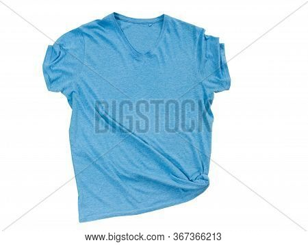 Blue T Shirt Isolated On White Top View, T-shirt Isolated On White Background, Female Male Empty Bla